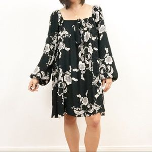 Billabong Off the Shoulder Black Floral Dress